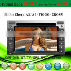 android car dvd player fit for Chery A3 A5 Tiggo with radio bluetooth gps tv pip dual zone