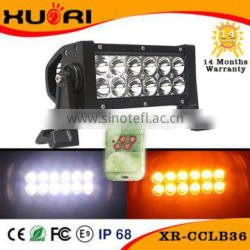 Long Lifetime warranty 7inch 36W White Amber Dual Color Changing LED light bar with remote control