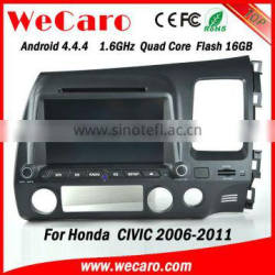 "Wecaro android 4.4.4 car radio Wholesales 8"" usb aux interface for honda accord civic Wifi&3G right hand drive 2006 - 2011"