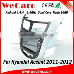 Wecaro WC-HU7202 Android 4.4.4 car multimedia system 1024 * 600 for hyundai accent car radio cd mp3 WIFI 3G A9 cpu 2011-2014