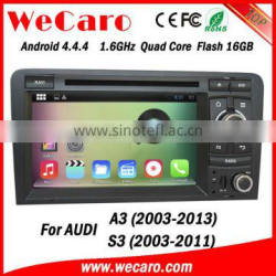 Wecaro Android 4.4.4 car entertainment system 1024 * 600 for audi a3 navigation touch screen WIFI 3G A9 cpu 2003-2013