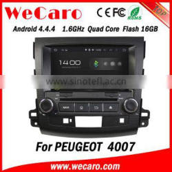 """Wecaro Android 4.4.4 touch screen in dash 8"""" car stereo radio multimedia dvd player for peugeot 4007 gps navigation"""