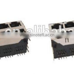 Shielded Double Row 2*N port RJ45 Network Connector