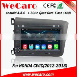"Wecaro android 4.4.4 car radio Wholesales 8"" for honda civic multimedia bluetooth 2012 2013 Quality Choice"