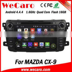 Wecaro in dash touch screen Android 4.4.4 car radio GPS navigation system for mazda cx-9 touch screen dvd player