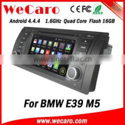 Top Version Android 4.4.4 car dvd single din for bmw e39 car navigation Android 1.6 ghz cpu 1995-2003