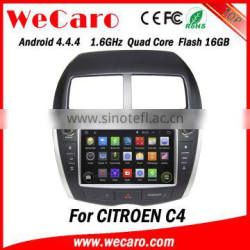 Wecaro Android 4.4.4 car dvd player double din for citroen c4 dvd gps radio tv bluetooth system android tv tuner