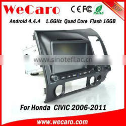 "Wecaro android 4.4.4 car gps navigation radio Wholesales 8"" android car dvd for honda civic Wifi&3G right hand 2006 - 2011"