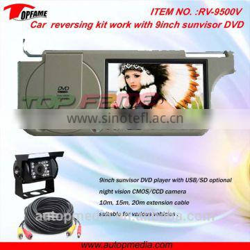 9 inch rearview car camera with sunvisor DVD monitor for bus/truck/vans