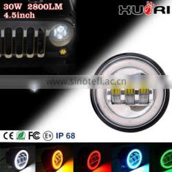 top sales jeep wrangler jk accessori 4.5 inch 30w led car headlight with high/low beam angel eyes for jeep fog light