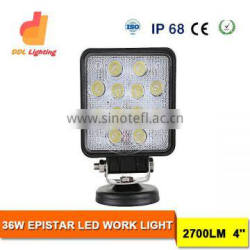DDL lighting super bright square 36w led driving light, off road car work light led