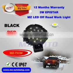 MZ T51W LED Work Light Off Road Light 7 Inch Round 4x4 EPISTAR Black Red JEEP led Lighting China factory outdoor LED Headlights