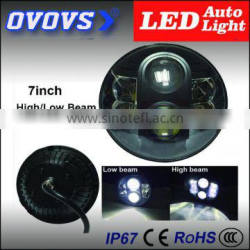ovovs Hot sales 7inch c-ree led car headlight 80w high /low beam 12v for J-eep wrangler jk